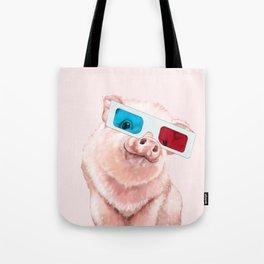 Baby Pink Pig Wear Glasses Pink Tote Bag