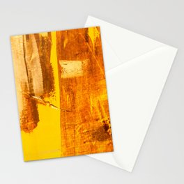Abstract orange yellow hand painted canvas fragment, abstract art painting on grunge wall with brushstrokes Stationery Cards