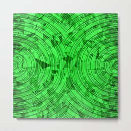 psychedelic geometric circle pattern abstract background in green Metal Print