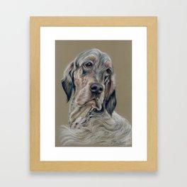 English Setter Dog Cute Pet portrait Pastel drawing on grey background Decor for dog lover Framed Art Print