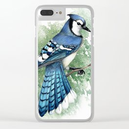 Blue Jay In Watercolor Clear iPhone Case