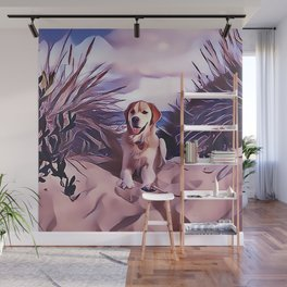 Yellow Labrador Retriever at the Beach Wall Mural