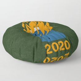 2020 in a Picture (with text) Floor Pillow