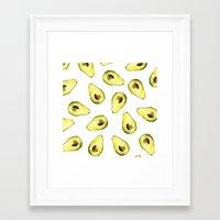avocado Framed Art Prints featuring avocado by Lucia Devetakova