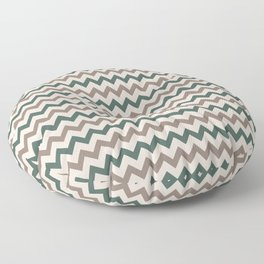 Brown Cream Green Chevron Horizontal Line Pattern 2021 Color of the Year Canyon Dusk & Accent Shades Floor Pillow