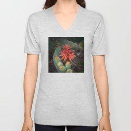 Cactus-Wrapped Flaming Firecraker Flower Unisex V-Neck
