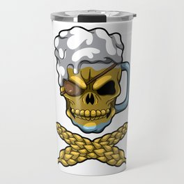 Beer Mug Skull - Brewery Pirate - Oktoberfest Travel Mug