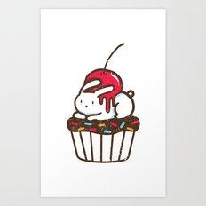 Chubby Bunny on a cupcake Art Print