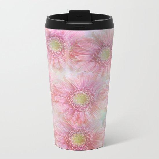 Pink daisies on a pastel background. Metal Travel Mug