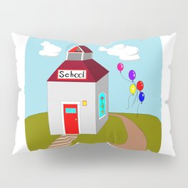 An Ole School House with Balloons Pillow Sham