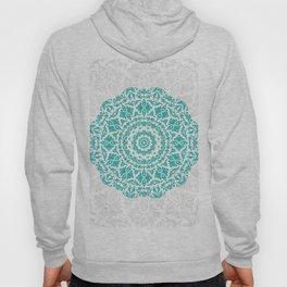 Bohemian Glittering Floral Mandala Aquamarine Hoody
