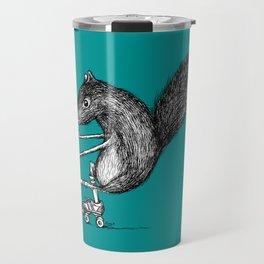 Ride On Squirrel_teal Travel Mug