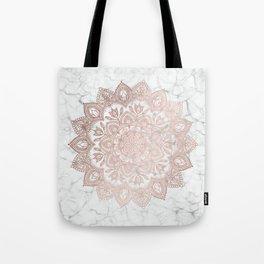 Boho Mandala - Rosegold on Marble Tote Bag