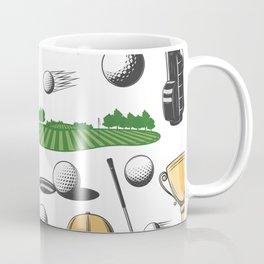 Green Fairway Golf Swing Retro Golf Print Coffee Mug