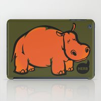 hippo iPad Cases featuring Hippo by ILINDESIGNS