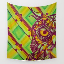 Green Owl Wall Tapestry