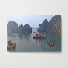 Sailboats in Ha Long Bay Metal Print
