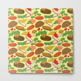 Cheeseburger Explosion Metal Print