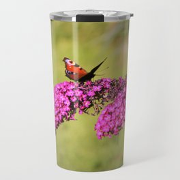 Peacock butterfly on buddleia Travel Mug