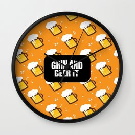 grin and beer it funny saying and quotes Wall Clock