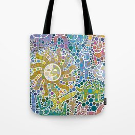 Colored Fauna with Sun Tote Bag
