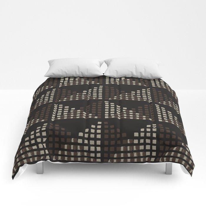 Layered Geometric Block Print in Chocolate Comforters