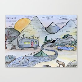 Vintage camping van in the mountains under a full moon- Illustration Canvas Print