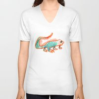 lizard V-neck T-shirts featuring lizard by Miguel-Angel Casarrubios