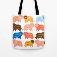 lions Tote Bags featuring Lions  by Claire Brown Surface Pattern