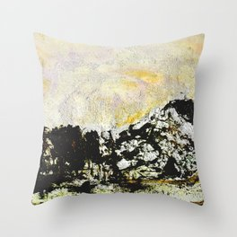 Golden mountains Throw Pillow