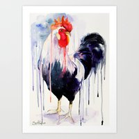 rooster Art Prints featuring Rooster  by Slaveika Aladjova