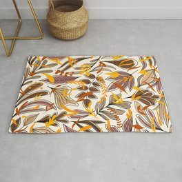 Modern Brown Fall Leaves Illustration Pattern Rug