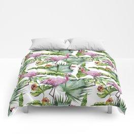 Flamingo Jungle #society6 #buyart Comforters