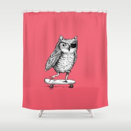 Ride On Owl_pink Shower Curtain