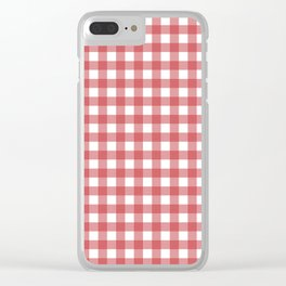 Retro Red Plaid Clear iPhone Case
