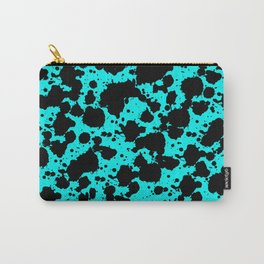 Bright Turquoise and Black Funny Leopard Style Paint Splash Pattern Carry-All Pouch