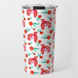 Little pretty swallows birds, sunny bright lovely juicy ripe oranges vintage retro red white pattern Travel Mug