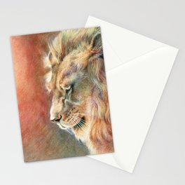 African Lion Colored Pencil Drawing Stationery Cards