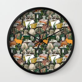 Cozy Cat Cafe and Bookstore Wall Clock