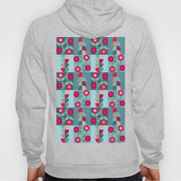 Modern Abstract Geometric Flower Shapes in Squares in Red Teal Turquoise Gold Hoody