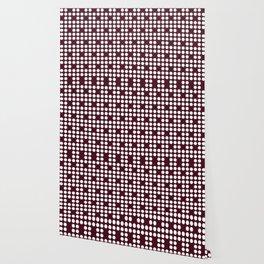 White dots on burgundy red Wallpaper