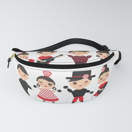 Spanish flamenco dancer. Kawaii cute face with pink cheeks and winking eyes. Gipsy Fanny Pack