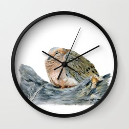 """""""Afternoon Nap"""" Acrylic Painting of a Dove by Teresa Thompson Wall Clock"""