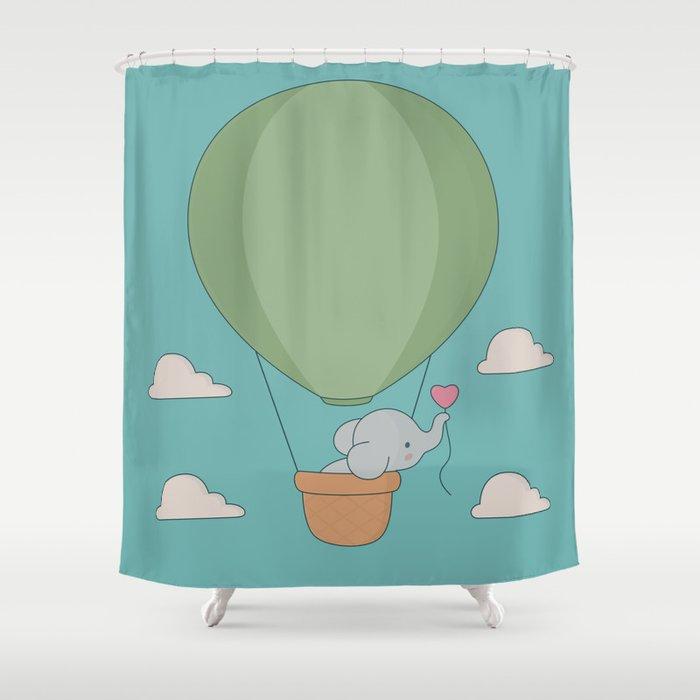 Kawaii Elephant Hot Air Balloon Shower Curtain By Wordsberry