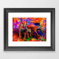 Psychedelic Tigers Framed Art Print