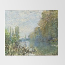 The Banks of The Seine in Autumn by Claude Monet Throw Blanket