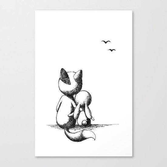 Fox and a rabbit Canvas Print