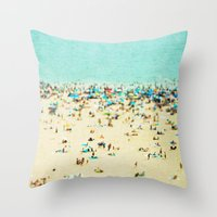 landscape Throw Pillows featuring Coney Island Beach by Mina Teslaru
