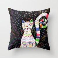 space cat Throw Pillows featuring Space cat by ezgi karaata