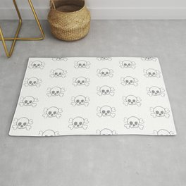Grey Skull and Crossbones Print and Pattern Rug